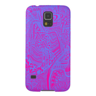 Pink/Blue Hand-drawn Abstract Tribal Crazy Doodle Galaxy S5 Cases