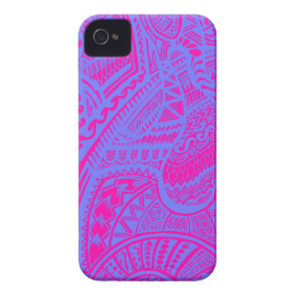 Pink/Blue Hand-drawn Abstract Tribal Crazy Doodle iPhone 4 Case