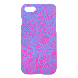Pink/Blue Hand-drawn Abstract Tribal Crazy Doodle iPhone 7 Case