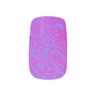 Pink/Blue Hand-drawn Abstract Tribal Crazy Doodle Nail Wrap