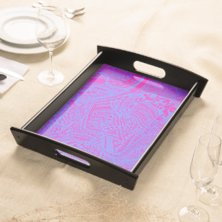 Pink/Blue Hand-drawn Abstract Tribal Crazy Doodle Serving Platters