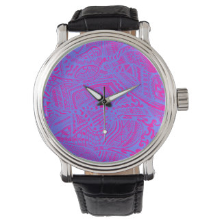 Pink/Blue Hand-drawn Abstract Tribal Crazy Doodle Watch
