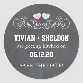 Pink + Blue Hearts, Chalkboard Wedding Stickers