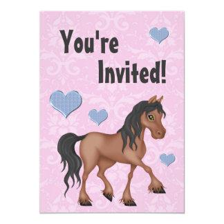 Pink & Blue Horse & Hearts Damask Birthday Invite
