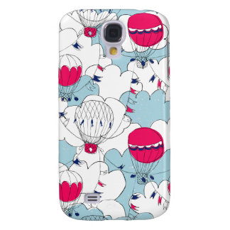 Pink & Blue Hot Air Balloon Doodle Sketch Pattern Galaxy S4 Covers