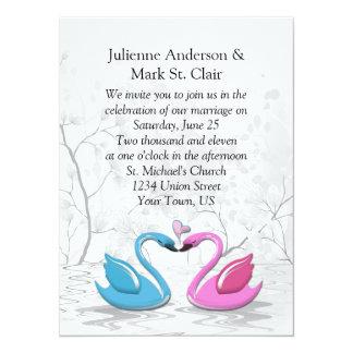 Pink Blue Kissing Swans Wedding Invitation