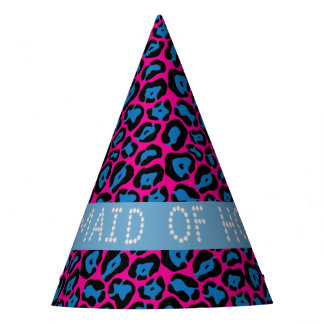 Pink/Blue Leopard Diamond Maid Of Honor Hats