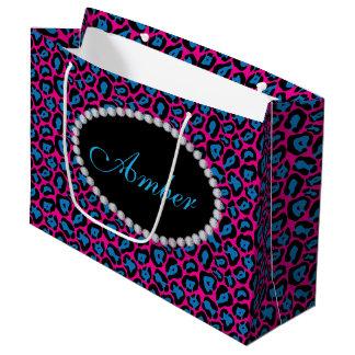 Pink & Blue Leopard  Diamond Monogram Lg Gift Bag