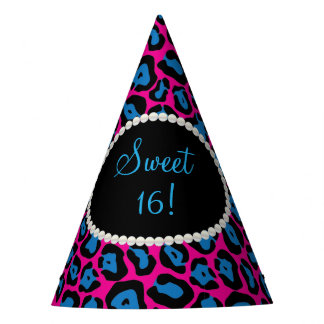Pink/Blue Leopard Print Pearls Sweet 16 Party Hats