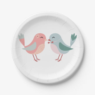 Pink & Blue Lovebirds - Wedding, Bridal Shower Paper Plate