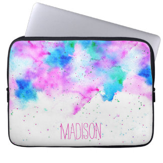 Pink blue modern watercolor brushstrokes splatters laptop computer sleeves
