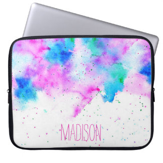 Pink blue modern watercolor brushstrokes splatters laptop sleeve