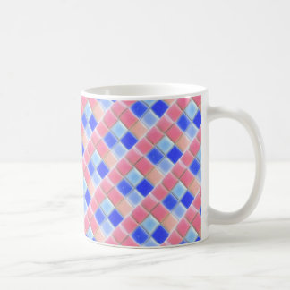 Pink Blue Mosaic Ceramic Tiles Coffee Mug