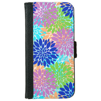 Pink Blue Navy Coral Flowers iPhone 6 Wallet Case