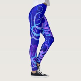 Pink & Blue Octopus Tentacles On Blue - Leggings