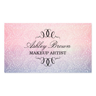 Pink & Blue Ombre Damask Business Card