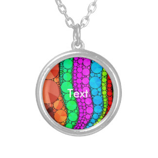 Pink Blue Orange Bling Pattern Round Pendant Necklace