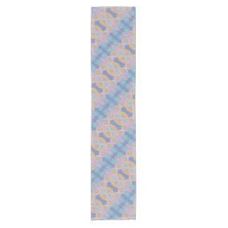 pink blue orange circle pattern table runner