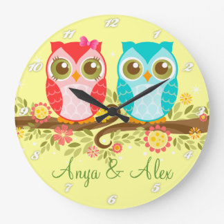Pink & Blue Owls - Custom Wall Clock