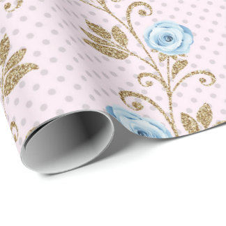 Pink Blue Pastel Dots Glitter Baroque Roses Floral Wrapping Paper