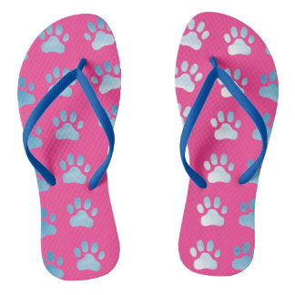 Pink Blue Paw Prints Thongs