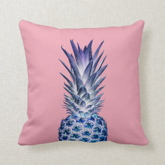 Pink Blue Pineapple Throw Pillow