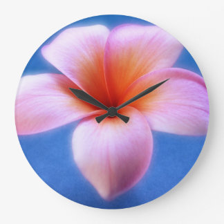 Pink & Blue Plumeria Frangipani Hawaii Flower Large Clock