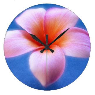 Pink & Blue Plumeria Frangipani Hawaii Flower Wall Clocks