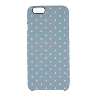 Pink & Blue Polka Dot Clear iPhone 6/6S Case