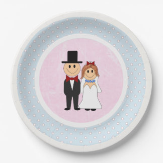 Pink, & Blue Polka Dots Bride and Groom Wedding 9 Inch Paper Plate
