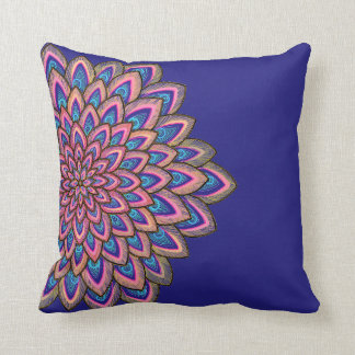 Pink, blue & purple abstract flower, cushion