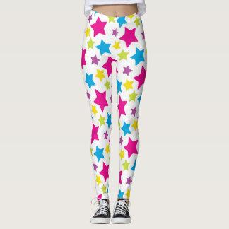 Pink, Blue, Purple and Yellow Stars Leggings