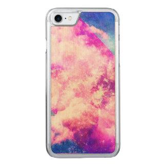 Pink Blue  Purple Nebula Dreamy Clouds Carved iPhone 7 Case