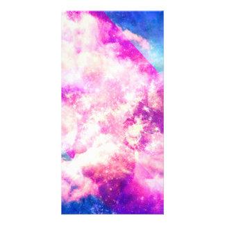 Pink Blue  Purple Nebula Dreamy Clouds Picture Card