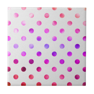 Pink Blue Purple Rainbow Metallic Faux Foil Polka Small Square Tile