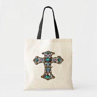 Pink Blue Religious Cross Bag Budget Tote Bag