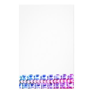 Pink & blue Rhinestones and pearls Stationery