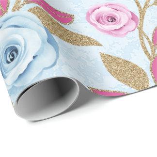 Pink Blue Rose Gold Glitter Baroque Antonietta Wrapping Paper