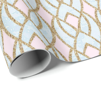 Pink Blue Rose Gold Glitter Baroque Peacock Wrapping Paper