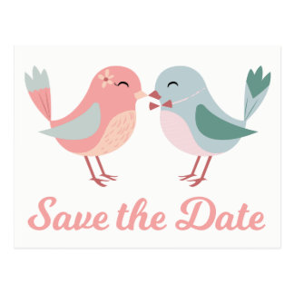 Pink & Blue Save The Date Wedding Lovebirds Postcard
