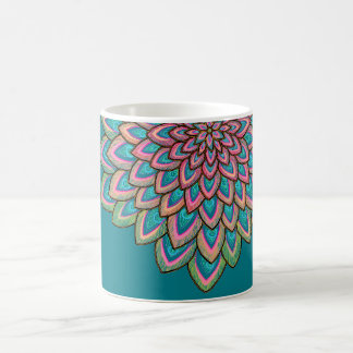 Pink & Blue, semi transparent, abstract flower, Coffee Mug