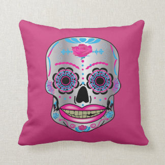 Pink/Blue Sided Rose Candy Skull Pillows