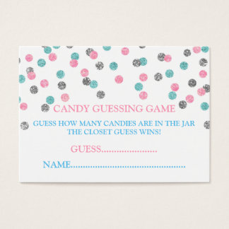 Pink Blue Silver Dots Candy Guessing Game Card