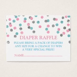 Pink Blue Silver Dots Diaper Raffle Card