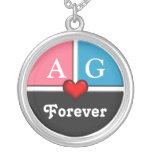 Pink & Blue Slice Round Forever Love Necklace