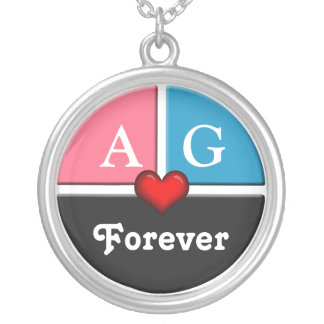 Pink & Blue Slice Round Forever Love Necklace