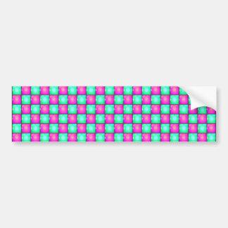 Pink Blue Square pattern Bumper Sticker