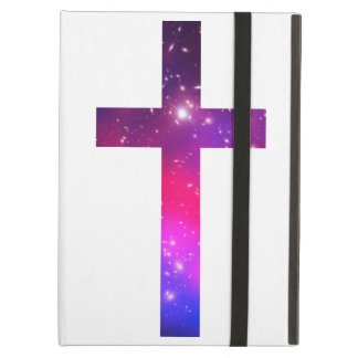 Pink Blue Stars Cross White Case For iPad Air