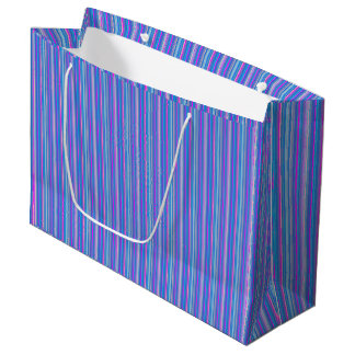 pink blue striped gift bag