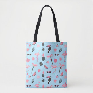 Pink & Blue Summer Tropical Pattern Tote Bag